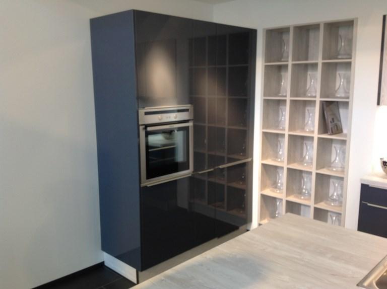 q04 inselk che in blaugrau glanz pinie mit griffschienen. Black Bedroom Furniture Sets. Home Design Ideas